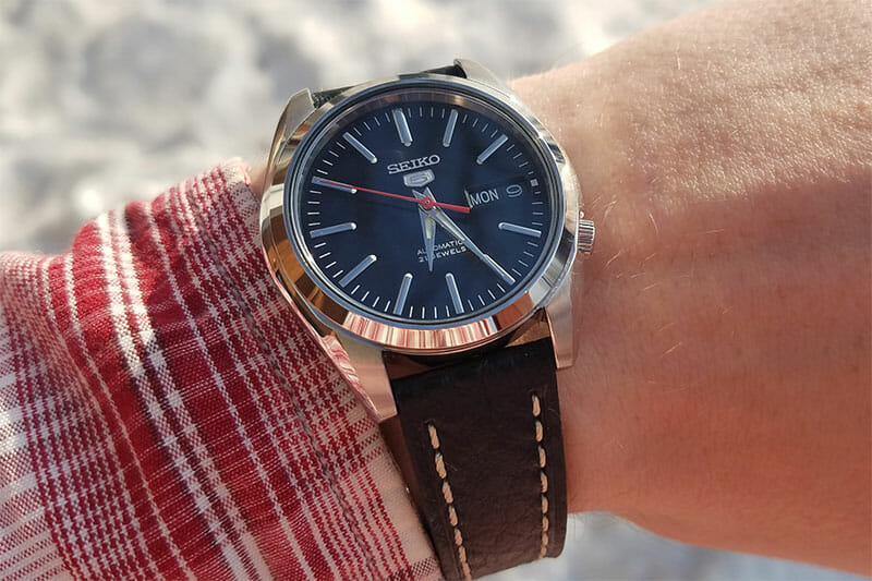 seiko SNKL45 with a leather strap